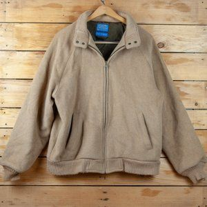 Vintage Pendleton Tan Wool Grandpa Bomber Jacket